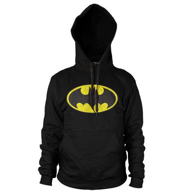 Batman hoodie mikina s kapucí a potiskem Distressed Logo