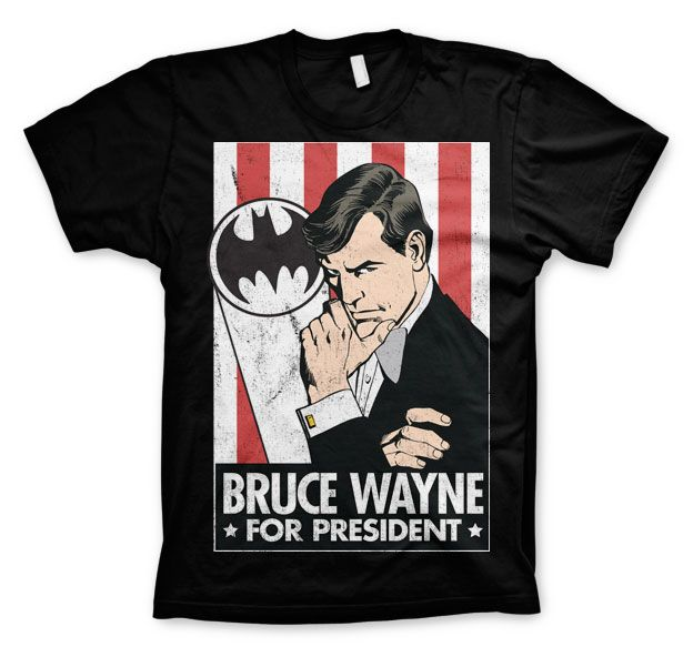 Batman stylové pánské tričko s potiskem Bruce Wayne For President