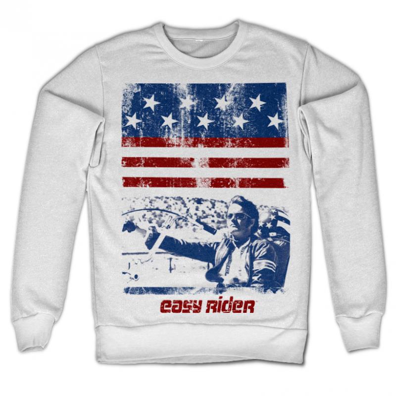 Bílá mikina s potiskem Easy Rider America , klasický střih
