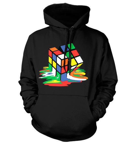 Hoodie mikina s humorným potiskem a kapucí Rubikova kostka