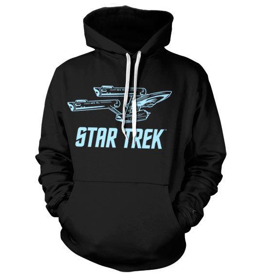 Hoodie mikina s kapucí Star Trek a potiskem Enterprise , stylová mikina