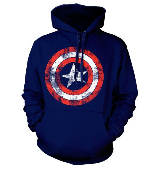Marvel Comics hoodie mikina s kapucí a potiskem Captain America Distressed Shield