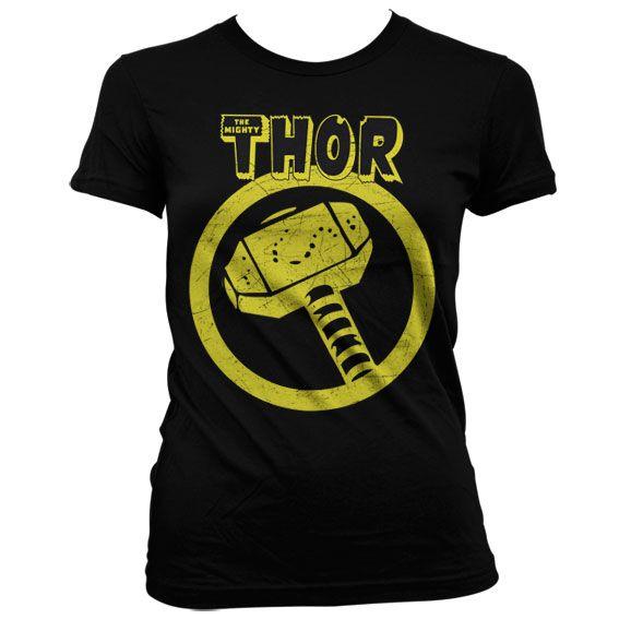 Marvel módní dámské tričko s potiskem Thor Distressed Hammer