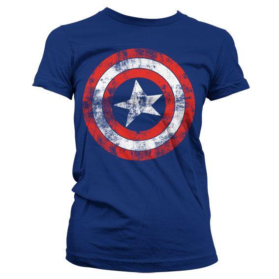 Marvel stylové dámské tričko s potiskem Captain America Distressed
