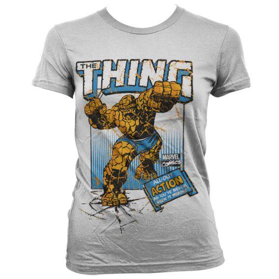 Módní tričko Marvel , dámské triko s potiskem The Thing Action