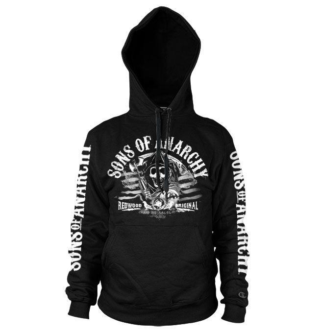 Sons of Anarchy hoodie mikina s potiskem Distressed Flag, mikina s kapucí L