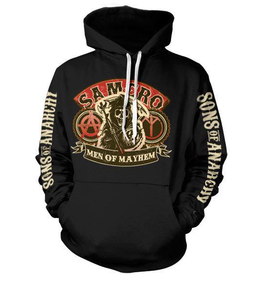 Sons of Anarchy hoodie mikina s potiskem SAMCRO Men Of Mayhem , mikina s kapucí