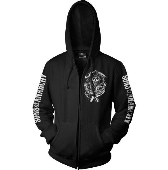 Sons of Anarchy mikina na zip s kapucí a potiskem SOA Scroll Logo