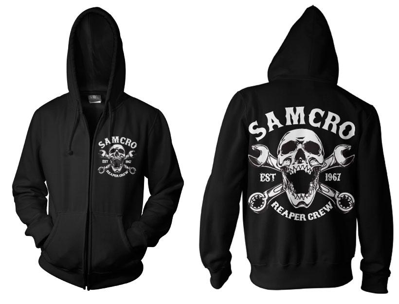 Sons of Anarchy mikina na zip s kapucí a potiskem SAMCRO Reaper Crew 1967