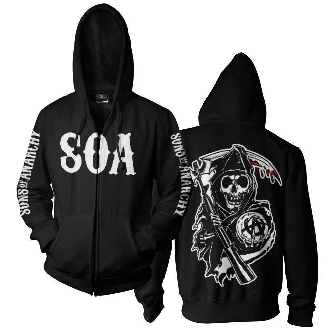 Sons of Anarchy mikina na zip s kapucí a potiskem SOA Reaper