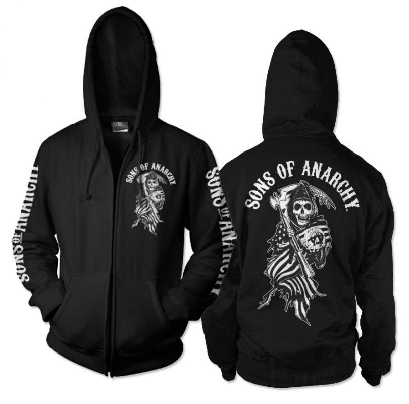 Sons of Anarchy mikina na zip s kapucí a potiskem SOA American Reaper