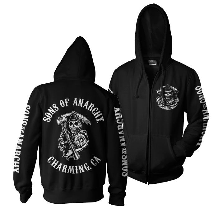 Sons of Anarchy mikina na zip s kapucí a potiskem SOA Full CA Backprint