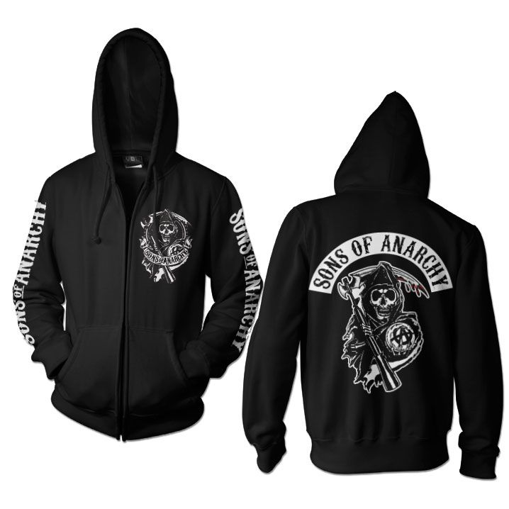 Sons of Anarchy mikina na zip s kapucí a potiskem SOA Backpatch