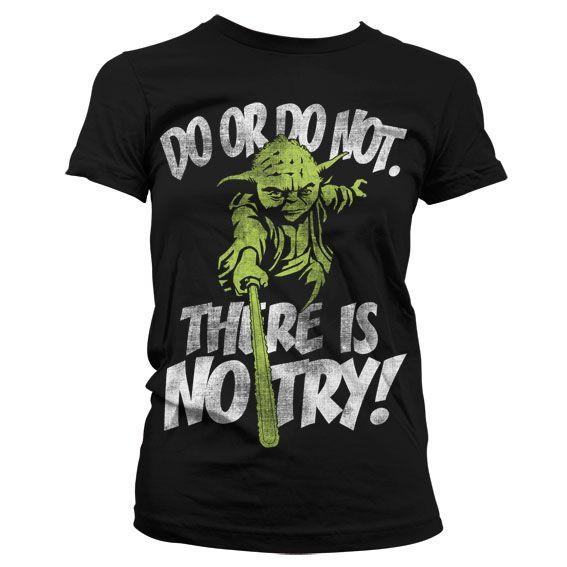 Star Wars stylové dámské tričko s potiskem There Is No Try Yoda