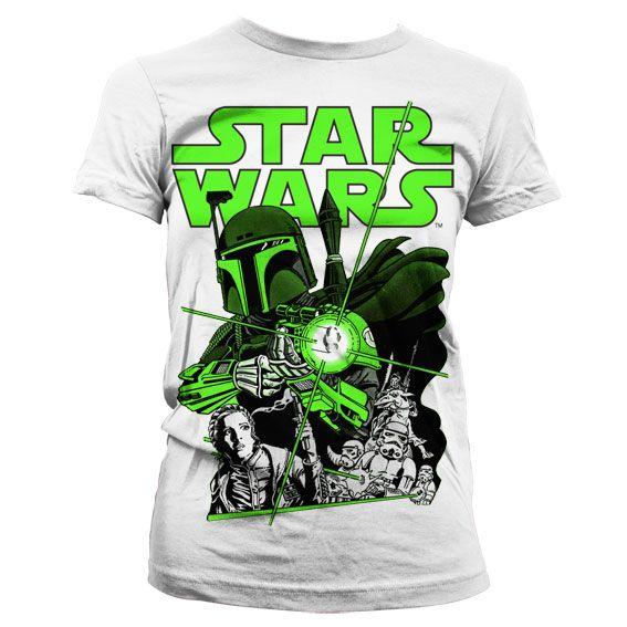 Star Wars stylové dámské tričko s potiskem Vintage Boba Fett