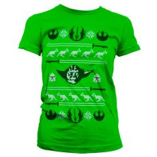 Dámské tričko s potiskem Star Wars Yodas X-Mas Knit