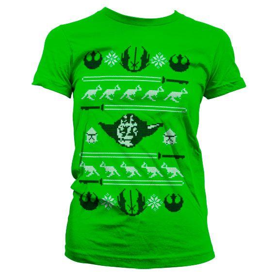 Star Wars stylové dámské tričko s potiskem Yodas X-Mas Knit