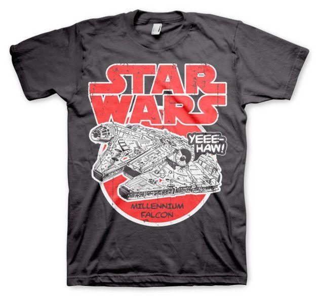 Star Wars stylové pánské tričko s potiskem Millennium Falcon