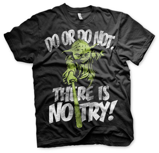 Star Wars stylové pánské tričko s potiskem There Is No Try Yoda