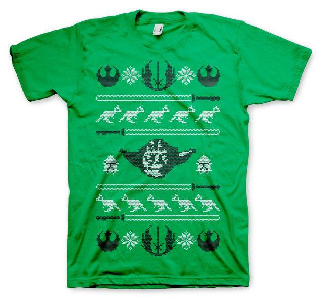 Star Wars stylové pánské tričko s potiskem Yodas X-Mas Knit