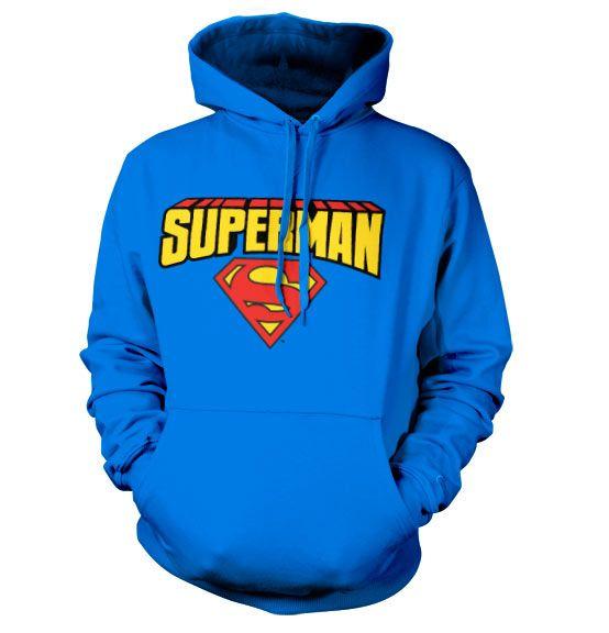 Superman stylová hoodie mikina s kapucí a potiskem Blockletter Logo