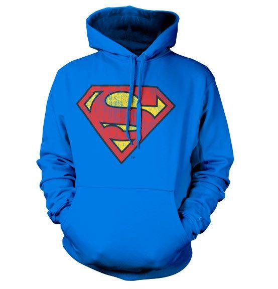 Superman stylová hoodie mikina s kapucí a potiskem Washed Shield