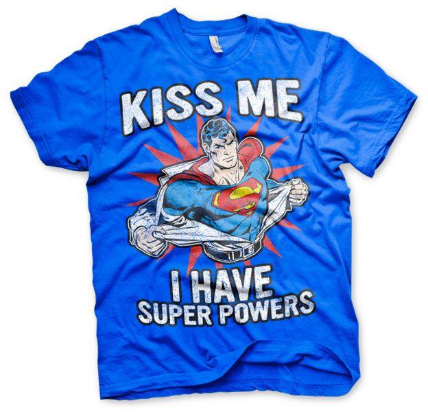 Superman stylové pánské tričko Kiss Me I Have Super Powers