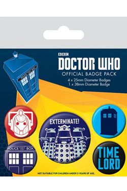 Doctor Who Připínaček Placky 5-Pack Exterminate Pyramid International