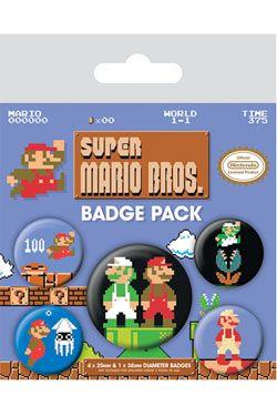 Super Mario Bros. Pin Placky 5-Pack