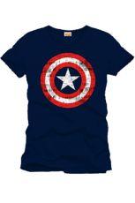 Captain America Tričko Shield Logo navy Velikost XL