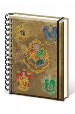 Harry Potter Poznámkový Blok A5 Hogwart's Crests