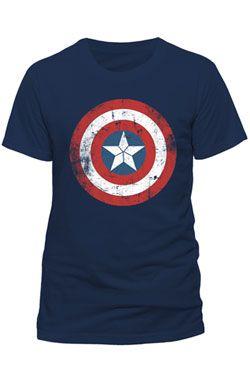 Captain America Tričko Shield Logo Distressed Velikost L
