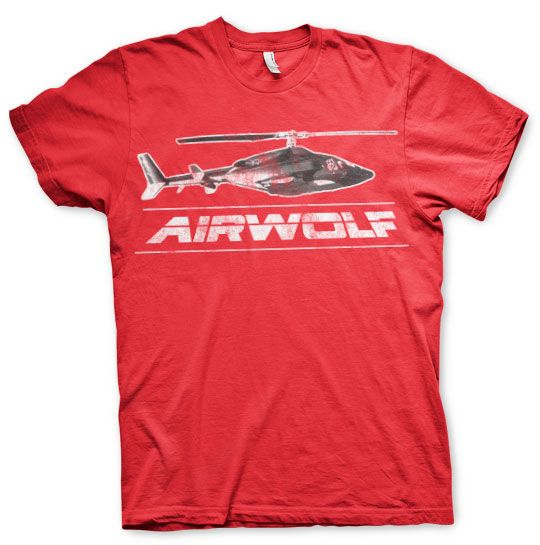 Airwolf módní pánské tričko s potiskem Chopper Distressed