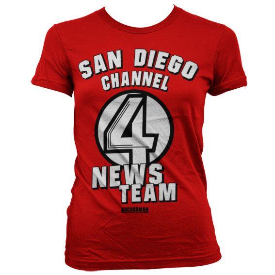 Anchorman stylové dámské tričko s potiskem San Diego Channel 4