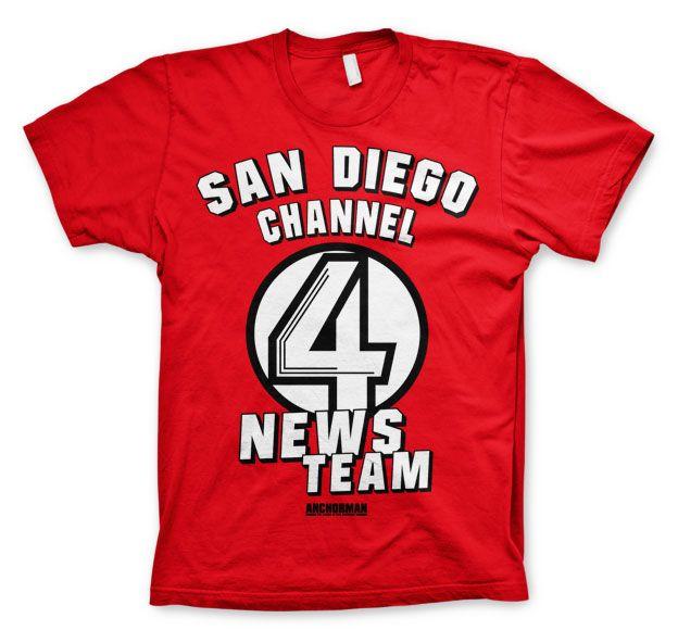 Anchorman stylové pánské tričko s potiskem San Diego Channel 4