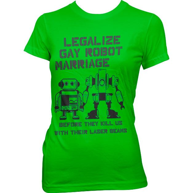 Dámské triko s humorným potiskem Legalize Gay Robot Marriage
