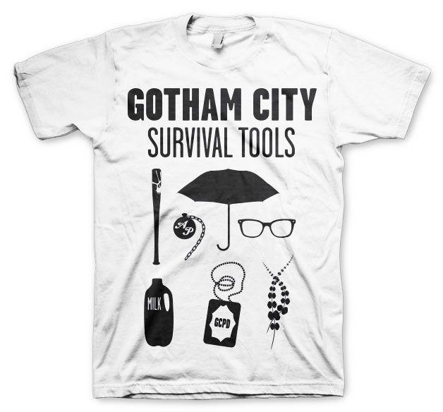 Gotham módní pánské tričko s potiskem Survival Tools