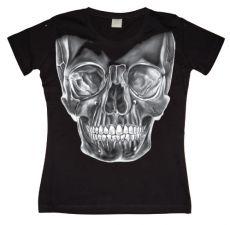 Dámské módní tričko Big White Skull