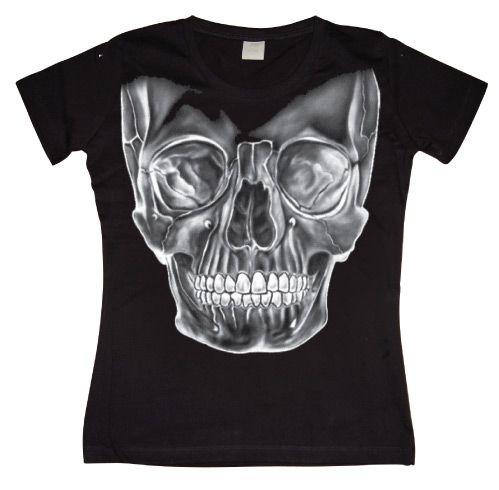 Hot Rod & Bikers stylové dámské tričko s potiskem Big White Skull