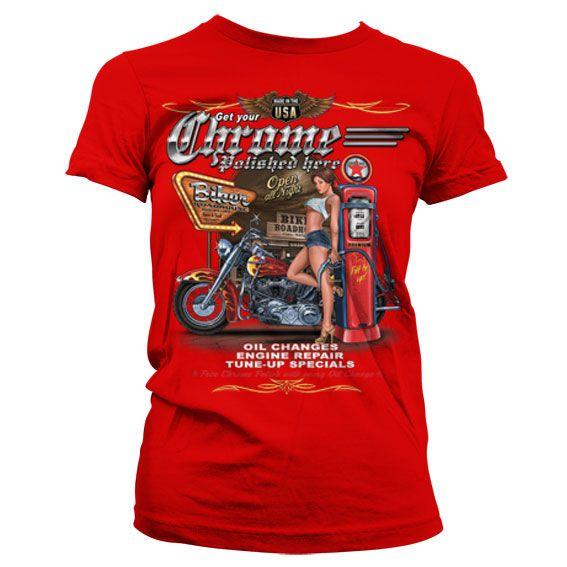 Hot Rod & Bikers stylové dámské tričko s potiskem Get Your Chrome Polished