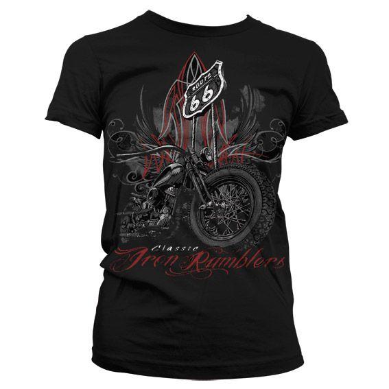 Hot Rod & Bikers stylové dámské tričko s potiskem Iron Rumbler´s - Route 66