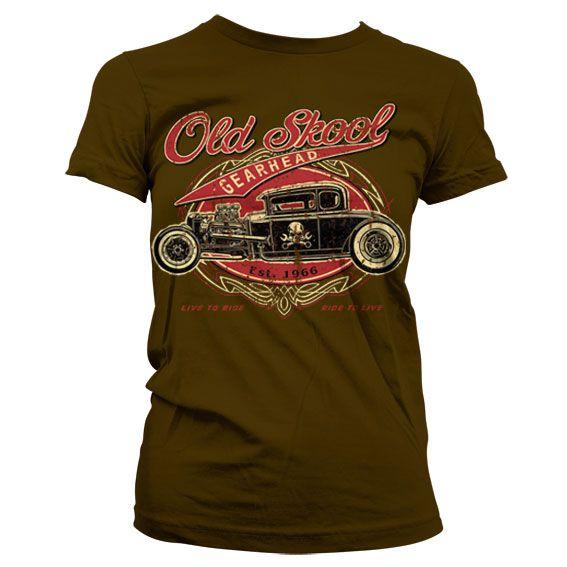Hot Rod & Bikers stylové dámské tričko s potiskem Old Skool Gearhead