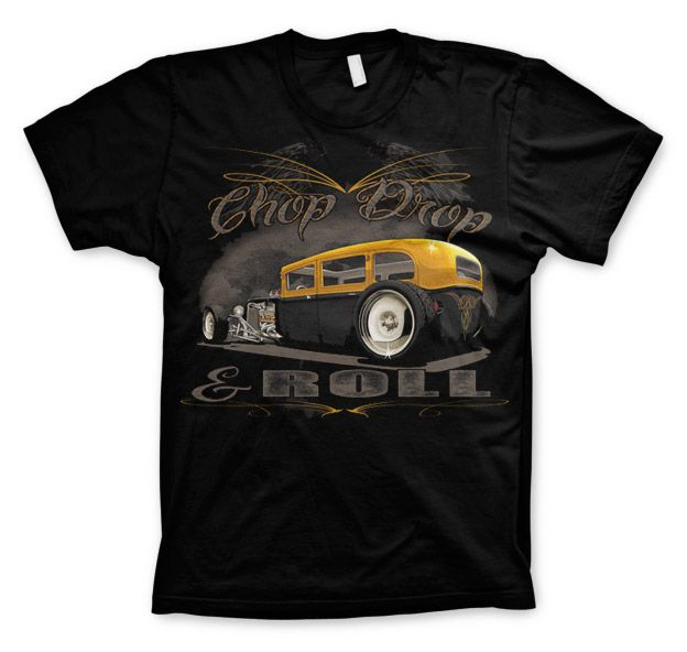 Hot Rod & Bikers stylové pánské tričko s potiskem Chop, Chop & Roll
