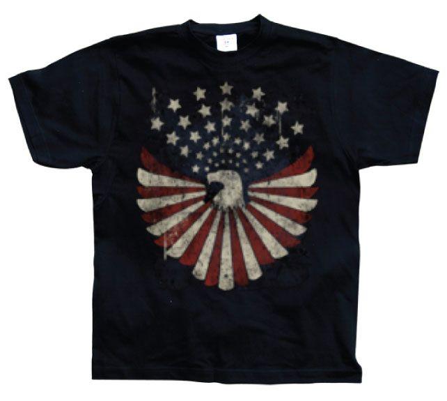 Hot Rod & Bikers stylové pánské tričko s potiskem Eagle Flag With Stars