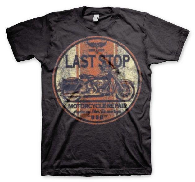 Hot Rod & Bikers stylové pánské tričko s potiskem Last Stop Motorcycle Repair