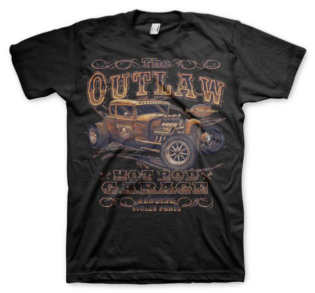 Hot Rod & Bikers stylové pánské tričko s potiskem Outlaw Hot Rod Garage