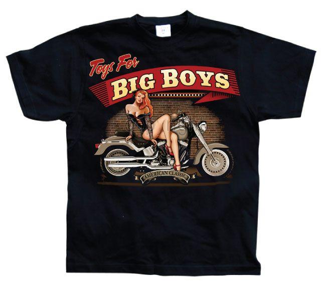 Hot Rod & Bikers stylové pánské tričko s potiskem Toys For Big Boys