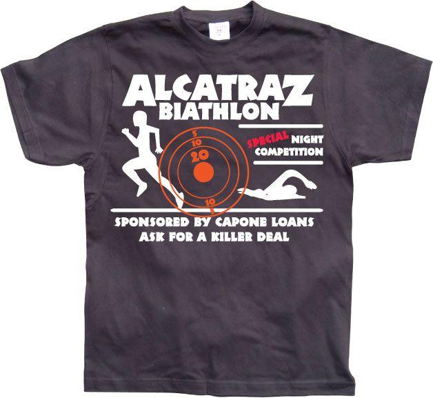 Pánské triko s humorným potiskem Alcatraz Biathlon