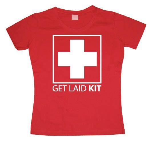 Stylové dámské triko s humorným potiskem Get Laid Kit
