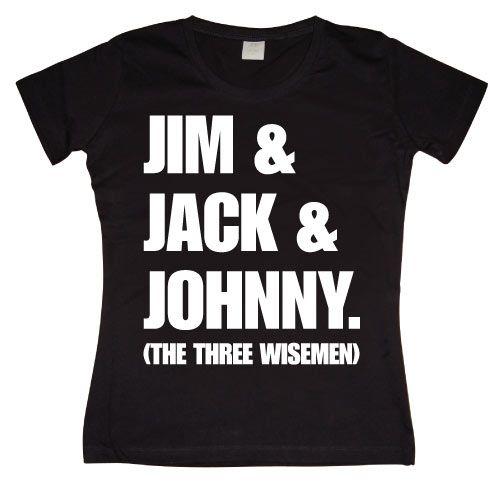 Stylové dámské triko s humorným potiskem Jim & Jack & Johnny
